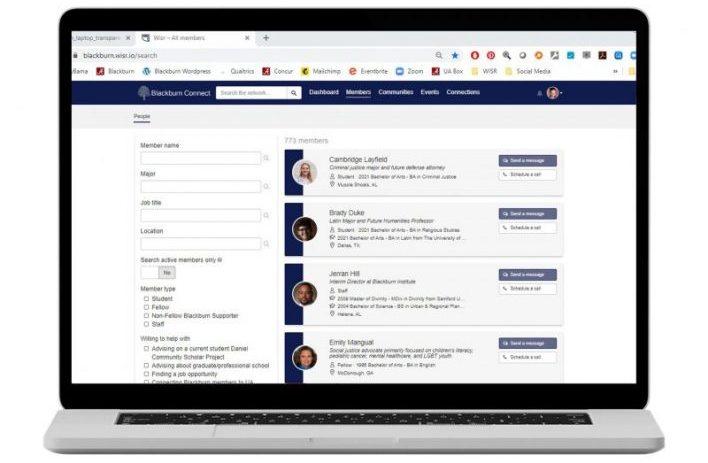 Laptop showing Blackburn Connect