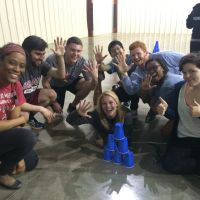 Blackburn Students Jilisa Milton, Patrick Fitzgerald, Cameron Harris, Melissa Mathews, Phuong Nguyen, William Bounds, Camille Carr, and Maddie complete a team-building activity