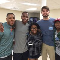 Blackburn Students Ryan Coleman, Jared Hunter, Maya Perry, Jimmy Pritchett, and James Clinton spending time together at 2016 New Student Retreat