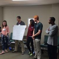 Blackburn Students Ronald Nelson, Kristen Chambliss, Rob Grady, Tori Leonard, William Bounds, and Jared Hunter share their initial ideas for a Daniel Community Scholars project at the 2016 New Student Retreat